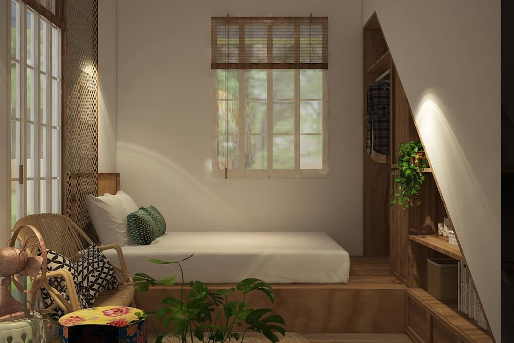 Beautiful, cozy and local taste design style bedroom with comfort bed