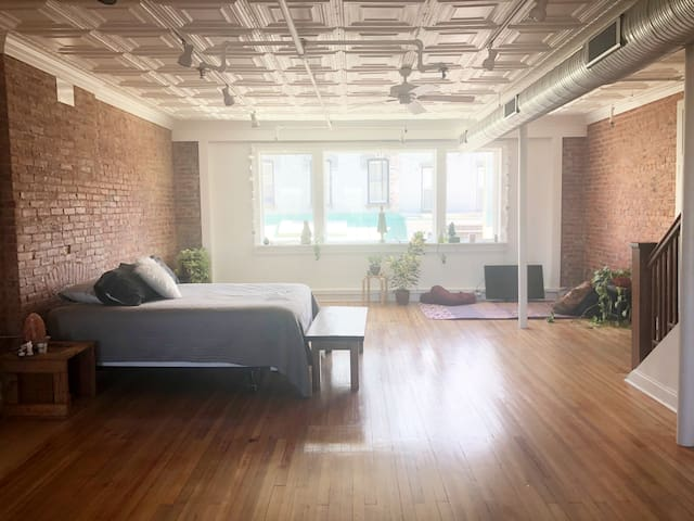 Beautiful bright light and lots of space for your own yoga practice or dance party.