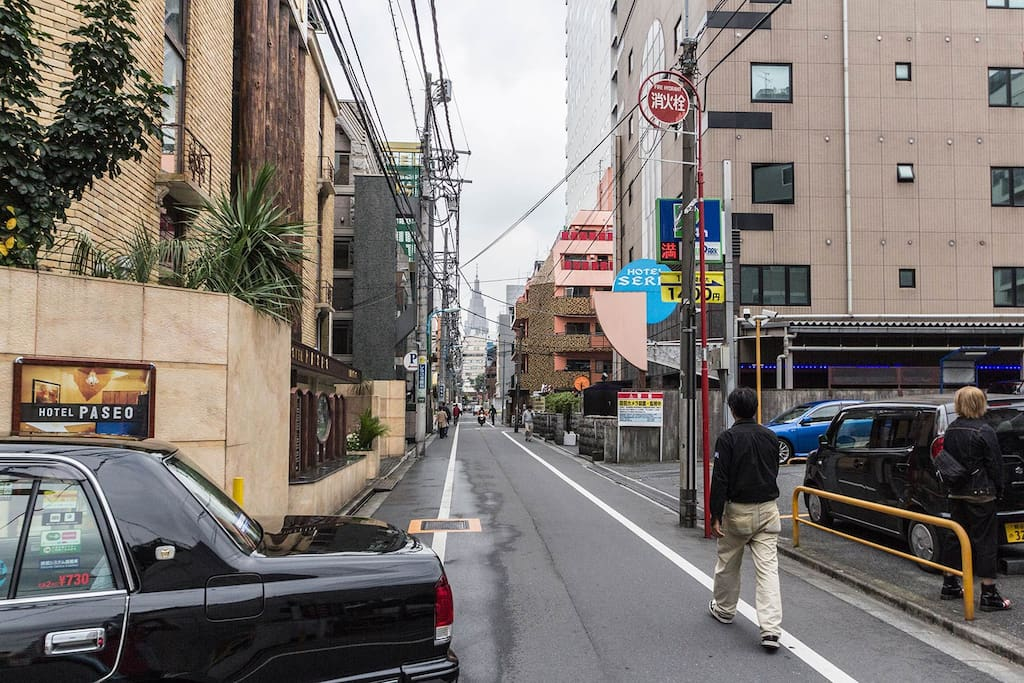 Street around the corner from the apartment, This road goes straight to Shinjuku Station