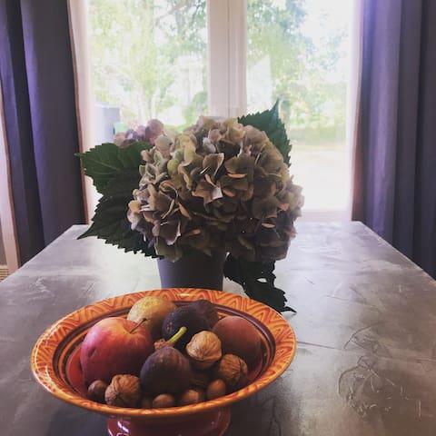 Toujours un petit geste de bienvenu, quelques fleurs et fruits du jardin.