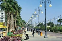 Finikoudes promenade with beach front, restaurants, cafes and bars 1 minute away