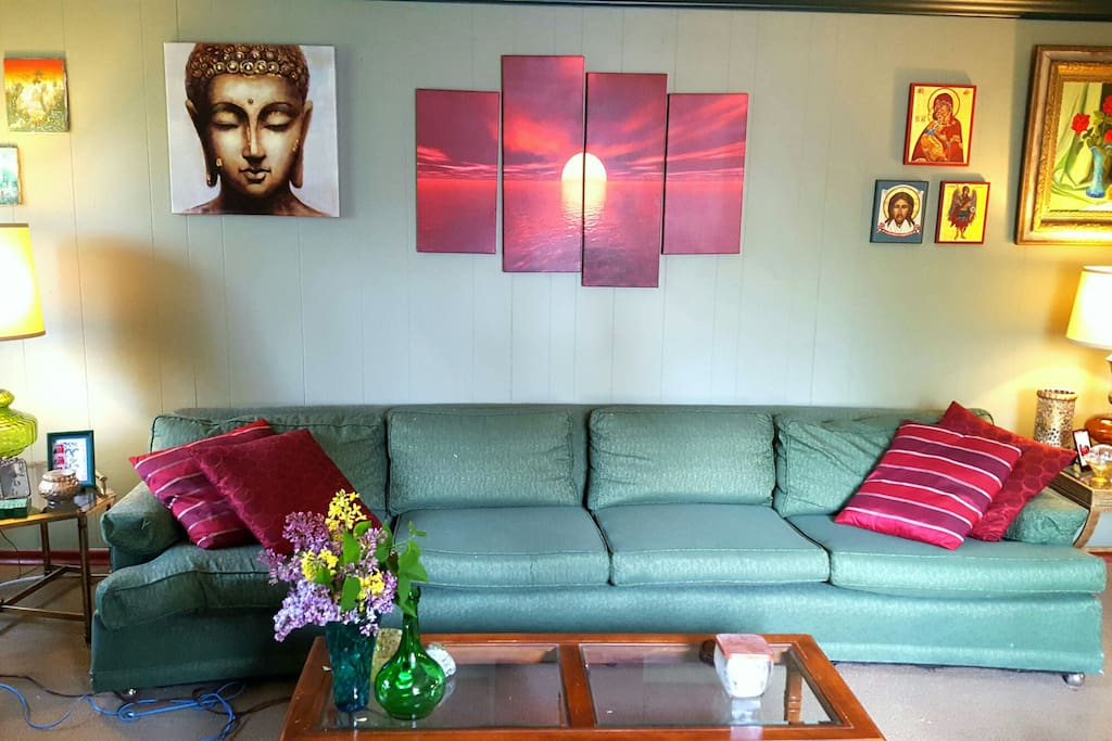 Come relax in my colorful and eclectic living room.