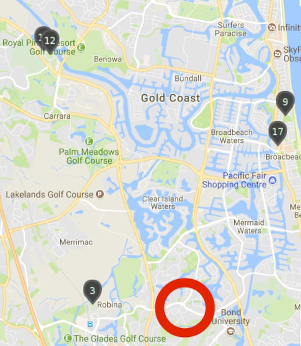 Commonwealth games locations nearby. The red circle is our apartment