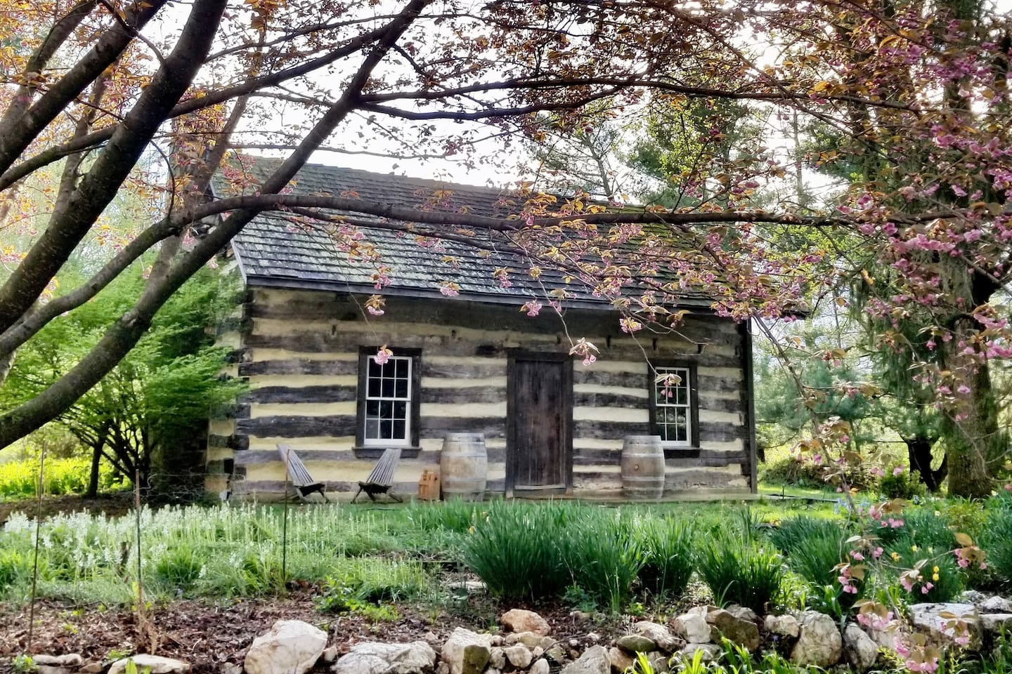 The 18th-century cabin is just behind the main house on our small farmstead, separated by a patio/terrace area that you're free to use. In the spring, the area is surrounded by cherry blossoms.