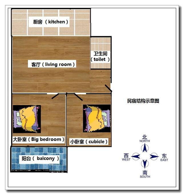 房源结构及床位摆放图… 两间卧室均朝南,根据您需要还可加床,最多可满足六人入住 Housing structure and bed placement map. Both bedrooms are heading south. You can also add beds to meet your needs. Up to six people are allowed to stay