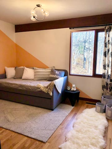 Adorable kids room with a trundle bed that has 2 full sized single beds.