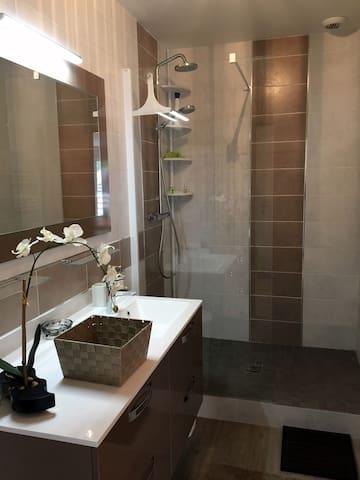 La salle de bain avec grande douche et grand lavabo
