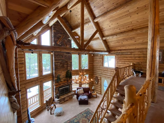 Stunning modern log cabin on spacious 1.5 acres!