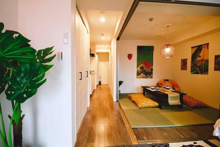 In-room corridor and tea room