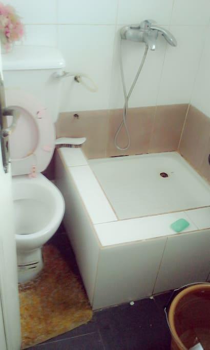 Private washroom with regular waterflow