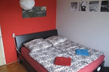 Our huge comfortable bed is the main thing in bedroom