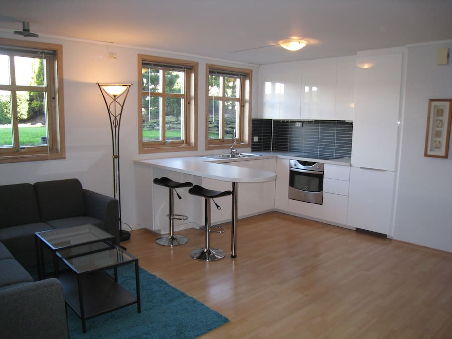 Open planned fully equipped kitchen with dishwasher, and fridge/freezer