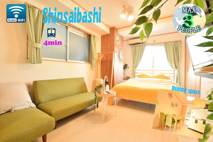 4 min train to Shinsaibashi/Family room/Free wifi!