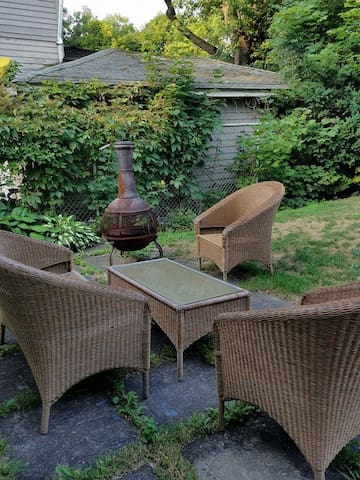 Outdoor seating with wood-burning chiminea, wood on site ($ donation appreciated)