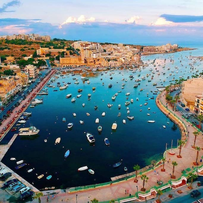 Marsaskala centre around 5min away from apartment by walk.