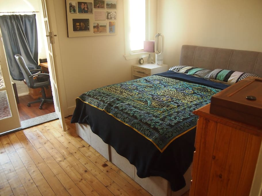 Comfortable queen sized bed, drawer & hanging space available.