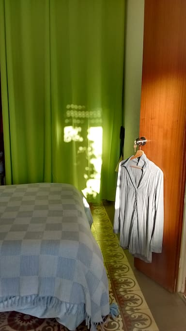 Same room showing drawn curtains.
