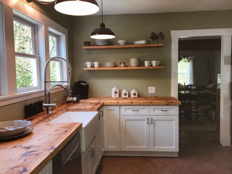 Newly stained butcher block countertops