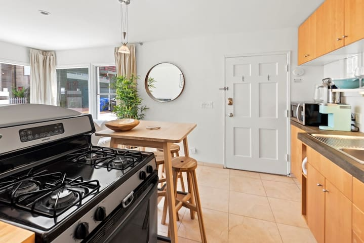 Open plan kitchen, with Keurig with lots of K Cup pods