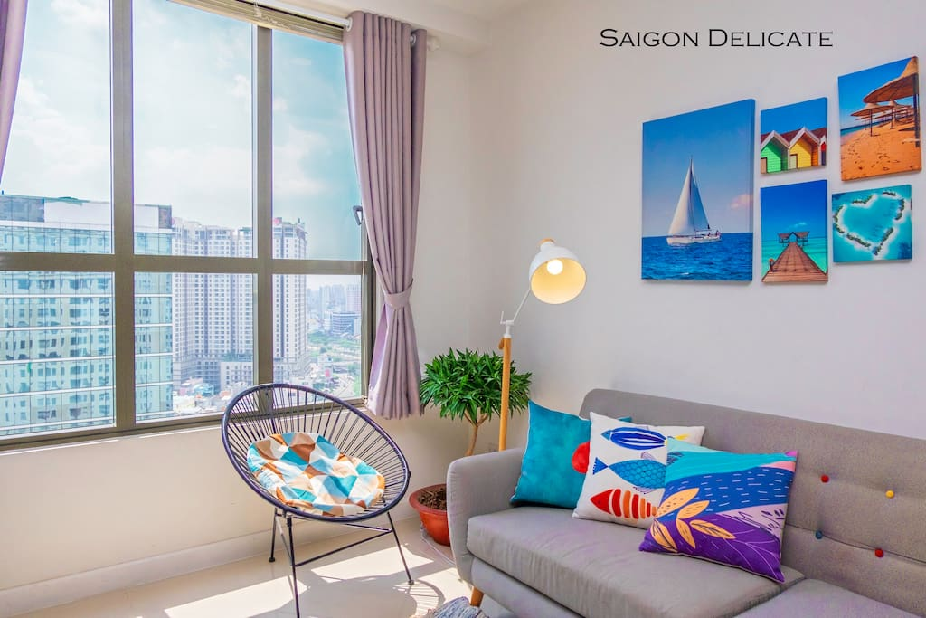 Would you love to come and enjoy this comfy couch watching Saigon on the very height? :)