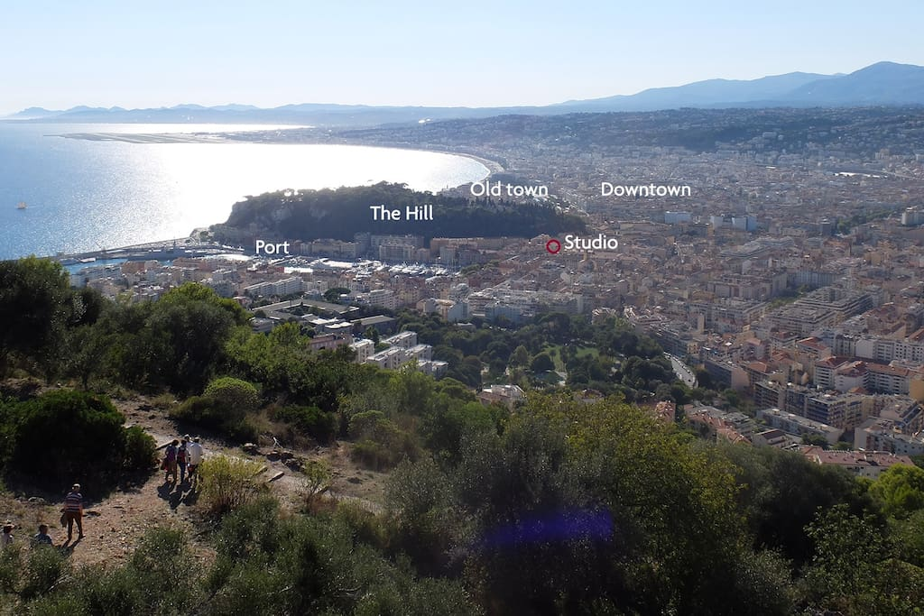 From the hills surrounding Nice, you can see where the studio is located...