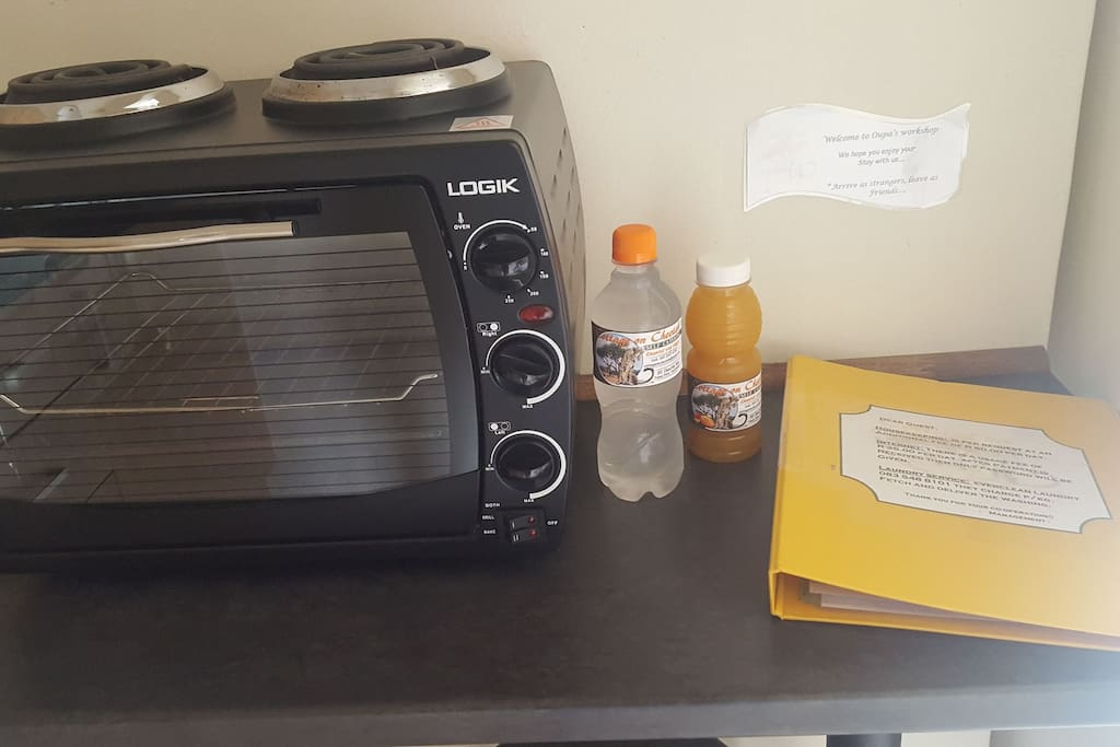 Information file as well as a refreshing juice or water to enjoy while packing out