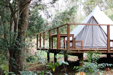 Luxury glamping tent with magnesium salt lap pool