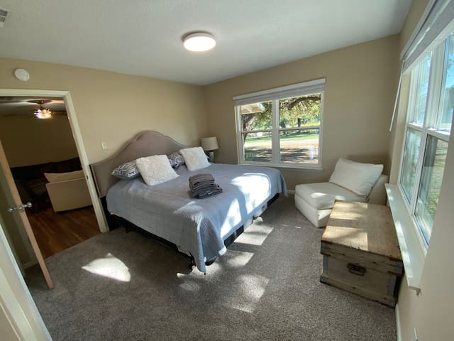 Ranch house master bedroom with king bed
