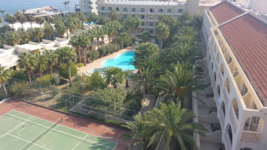 Pink Court Building and wave pool