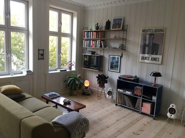 Living room with lot's of light. Sofa sleeps one.