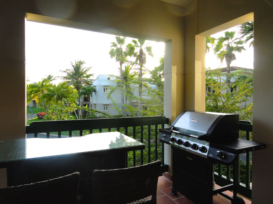 Some ocean view from the balcony with grill and dining area