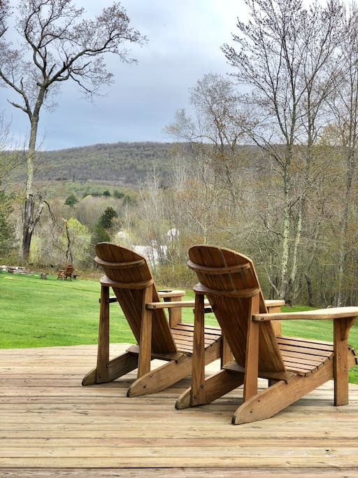 Adirondack chairs on the deck to enjoy morning coffee, cocktails and bird watching