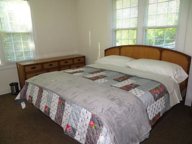 King Size bed for comfort. Full sized dresser for your clothes.