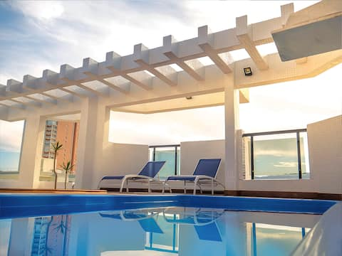 Cobertura piscina churrasqueira  Wi-Fi 8 pessoas