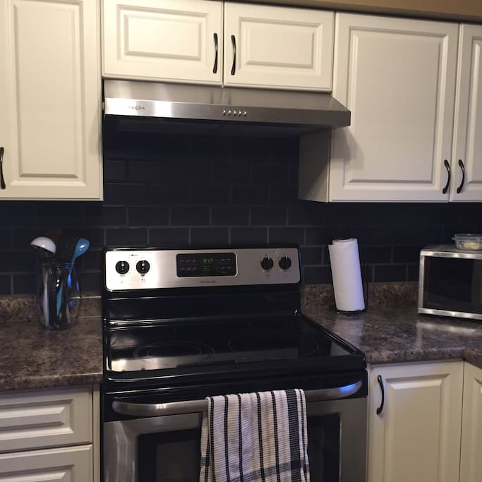 kitchen with updated backsplash