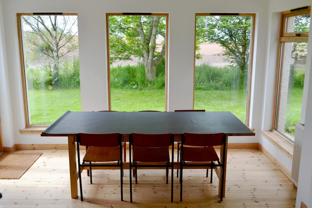Dining table looking west over the fields