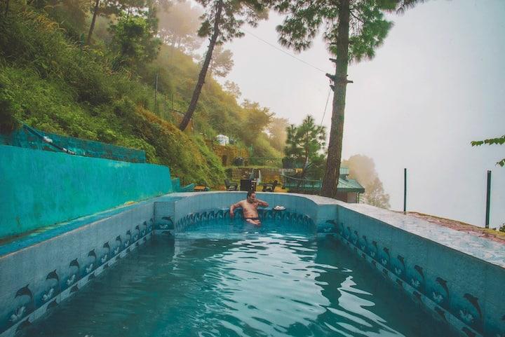Brookside retreat   Bonfire   Waterfall   Pool