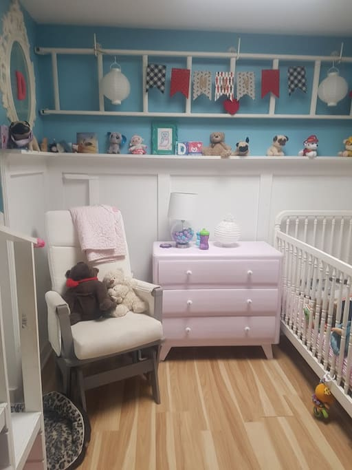 Kids Bedroom with crib and toddler bed