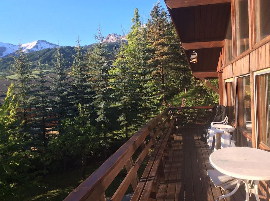 Views of the snowy mountains from the deck