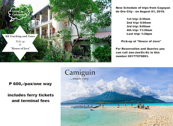 "5 trips daily from ""House of Java"" to your Resort/Hotel in Camiguin."