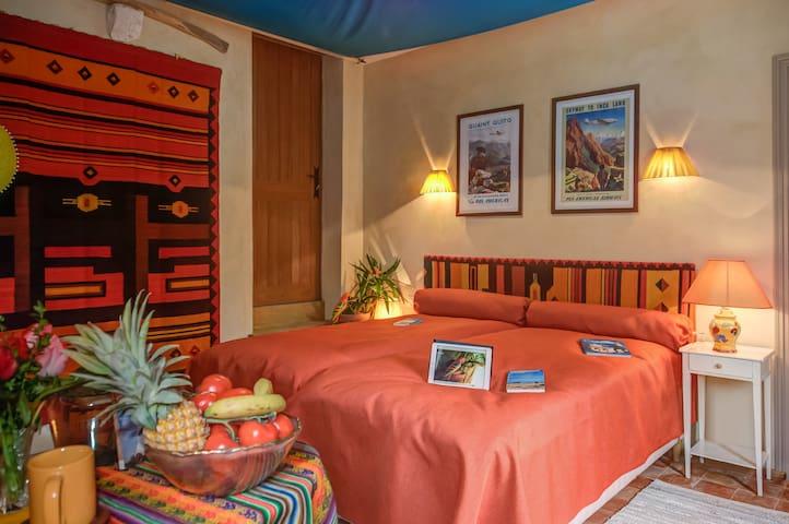 La chambre HACIENDA,chambre twin, aux couleurs laineuses et vives, vous plongera au cœur de l'Amérique latine, dans l'atmosphère si envoutante de la Sierra des Andes, des grandes plaines semi arides et des peuples amérindiens.