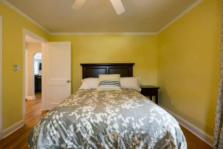 Traditional Leather and Mahogany furniture from Pottery Barn (Queen Bed).  This room has a bright southern exposure perfect for the morning person that LOVES sunshine! Queen Bed, Down Comforters, Feather Pillows and BRIGHT morning sun!