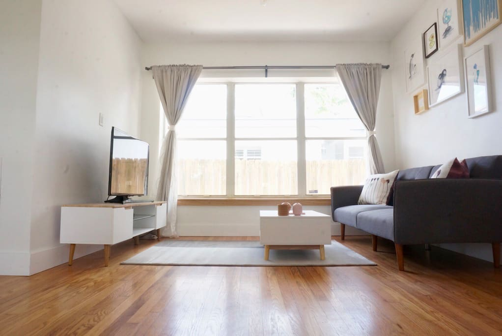 Living room with a futon and TV