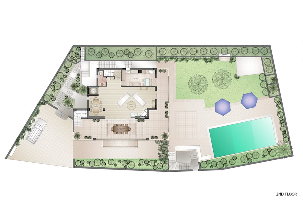 2nd floor plan and exterior grounds