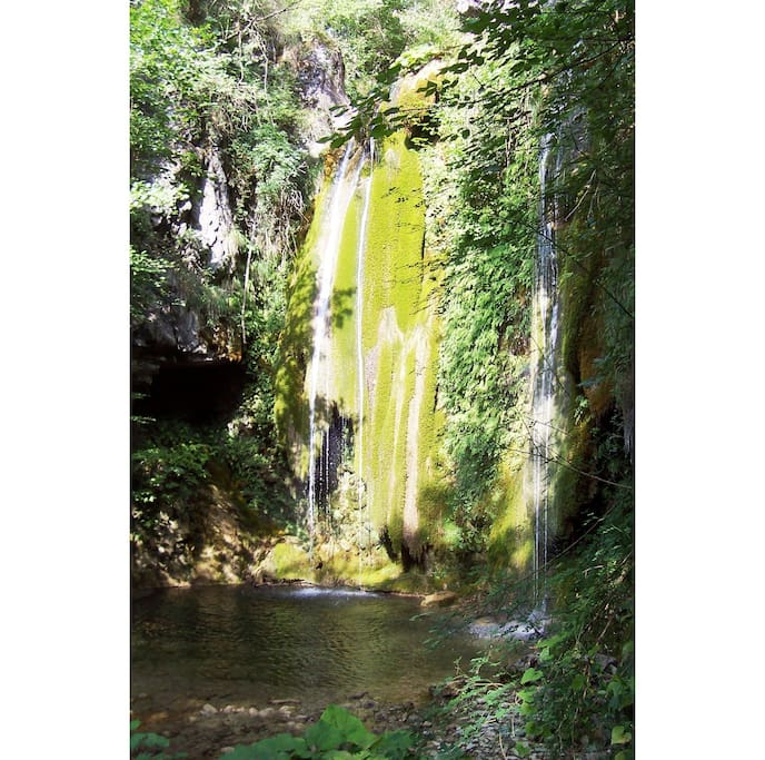 Waterfall in the nearby river Monia