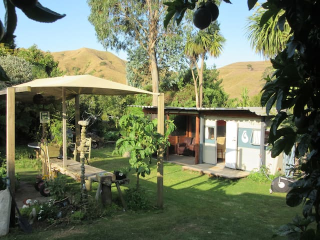 Backyard glamping in a hilly village hide away.