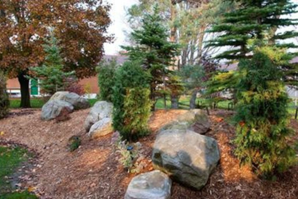 Our beautiful landscaped yard offers lots of green area plus a large parking lot.