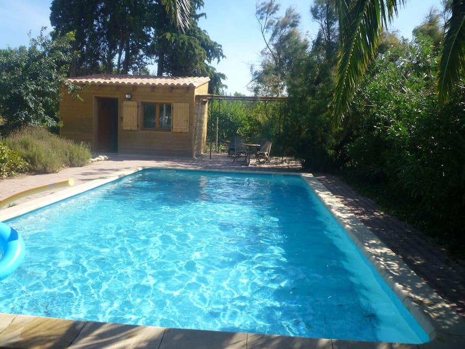piscine sans chlore- avec cabane de douche