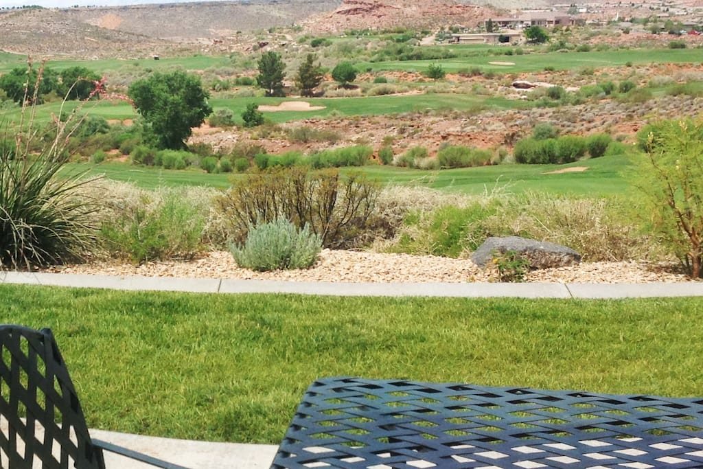 Just outside Large picture window is this Amazing backyard view of Coral Canyon Golf Course.