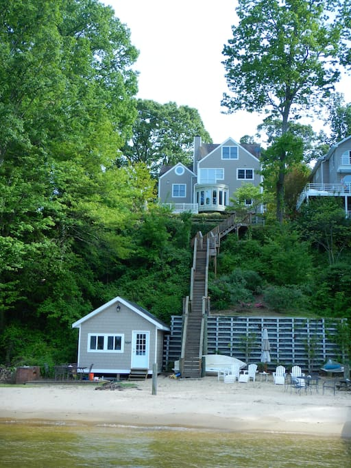 House is 50 feet up off the Severn River.  Private beach, shed and boat dock.